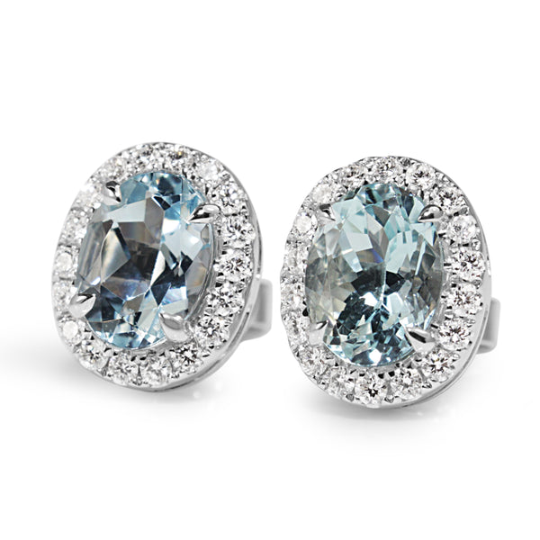 18ct White Gold Aquamarine and Diamond Oval Stud Earrings