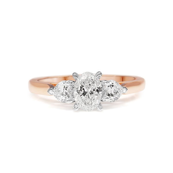 18ct Rose and White Gold Oval and Heart Shape 3 Stone Diamond Ring