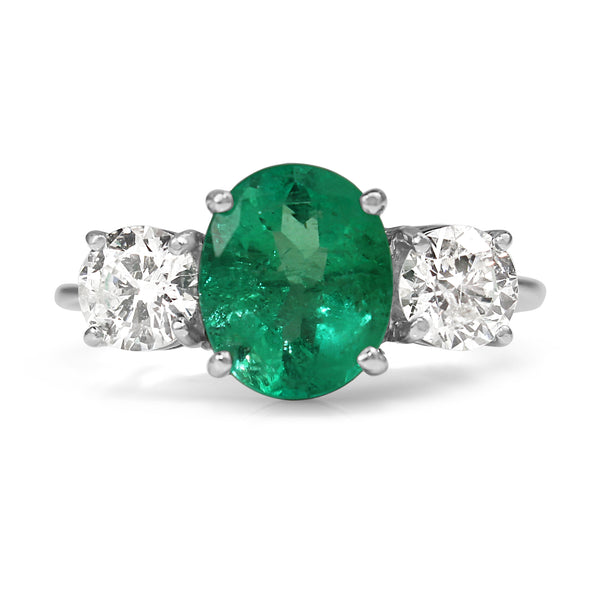 18ct White Gold Emerald and Diamond 3 Stone Ring