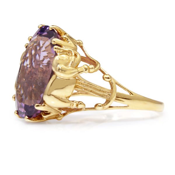 14ct Yellow Gold Amethyst Vintage Ring