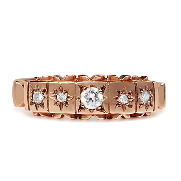 9ct Rose Gold Antique Style 5 Stone Diamond Ring