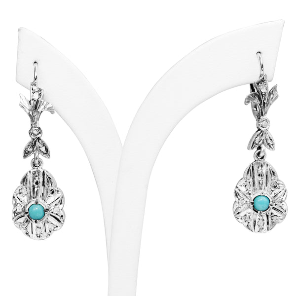 Palladium Art Deco Turquoise and Single Cut Diamond Earrings