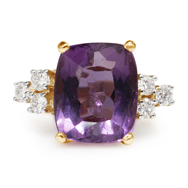 14ct Yellow Gold Amethyst and Diamond Vintage Ring