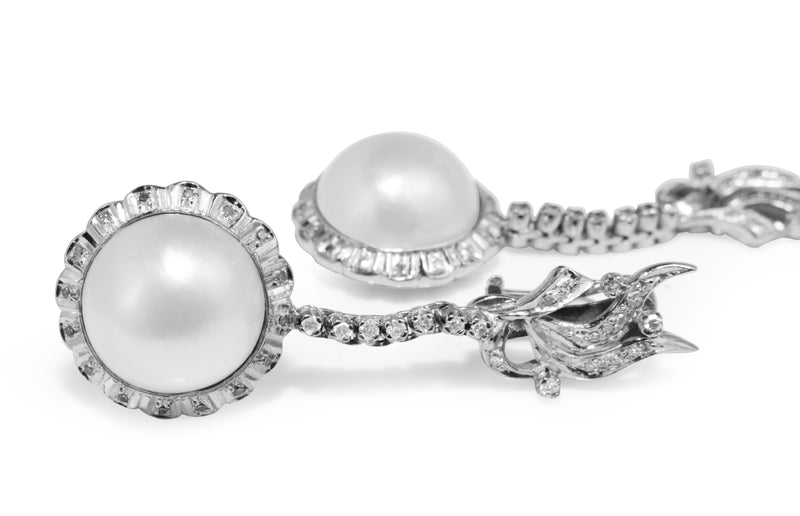 Palladium Vintage Mabe Pearl and Diamond Drop Earrings