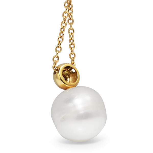 18ct Yellow Gold 12mm South Sea Pearl and Diamond Necklace