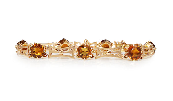9ct Yellow Gold Vintage Citrine Bracelet