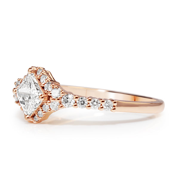 18ct Rose Gold Princess Cut Diamond Halo Ring