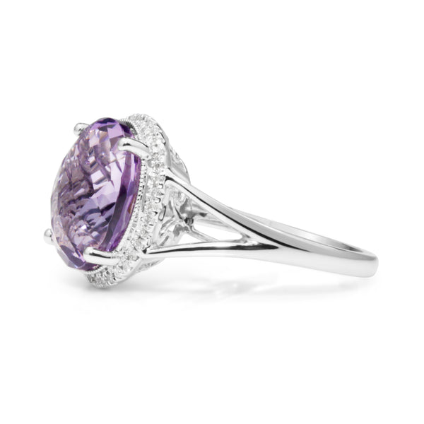 9ct White Gold Amethyst and Diamond Halo Ring