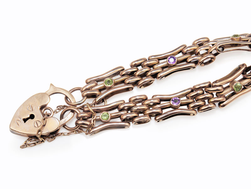 9ct Rose Gold Gate Link Bracelet with Amethyst and Peridot