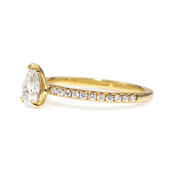 18ct Yellow Gold Pear Solitaire Diamond Ring