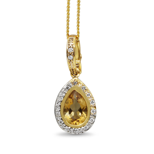 9ct Yellow Gold Citrine and Diamond Pendant / Enhancer