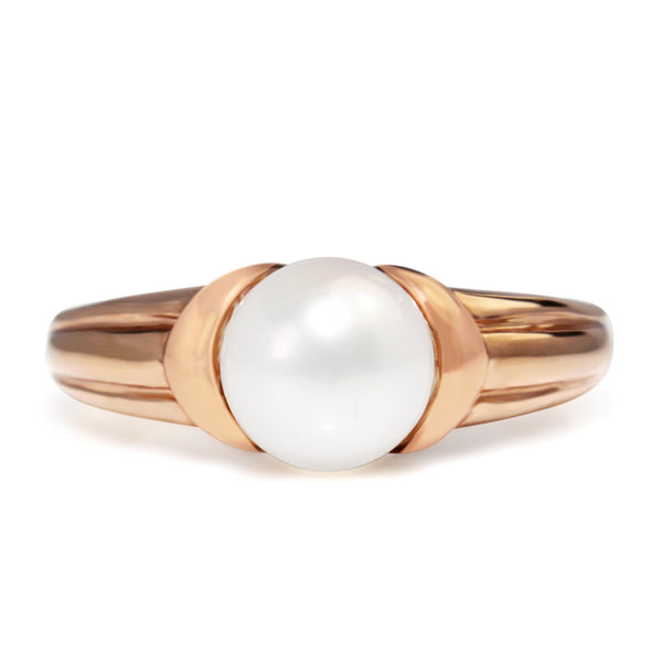 9ct Rose Gold Fresh Water Pearl Ring