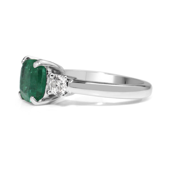 18ct White Gold Emerald and Diamond 3 Stone Diamond Ring