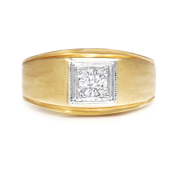 14ct Yellow and White Gold Old Cut Diamond Ring