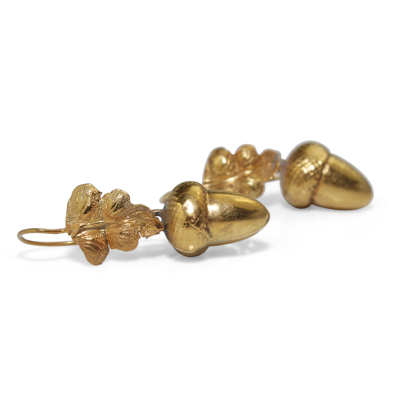 9ct Yellow Gold Victorian Acorn Earrings