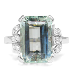 Platinum Vintage Aquamarine and Diamond Ring