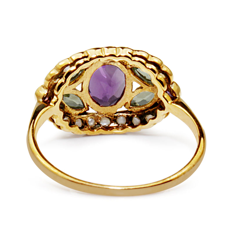 9ct Yellow Gold Suffragette Amethyst, Pearl and Peridot Ring