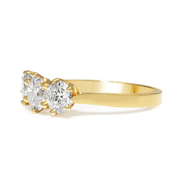 18ct Yellow Gold 3 Stone Antique Style Diamond Ring