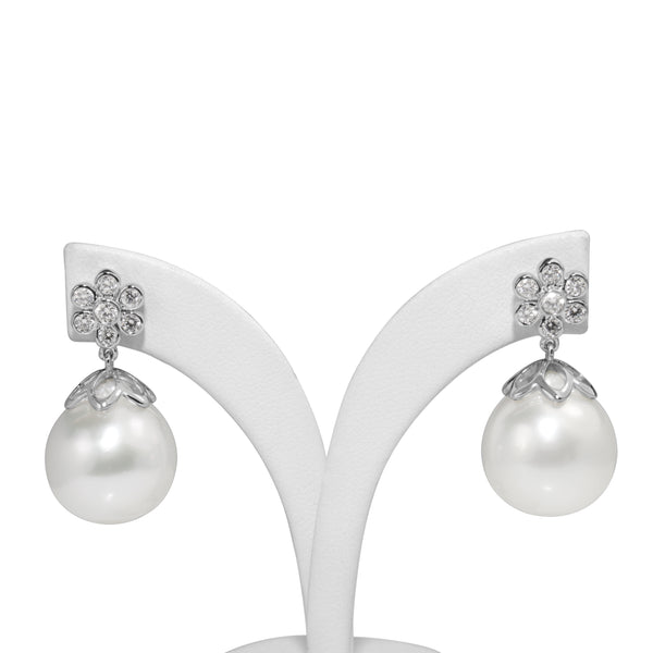 18ct White Gold 14mm South Sea Diamond Pearl Earrings