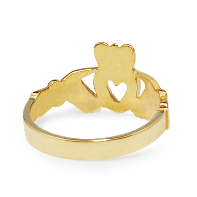 9ct Yellow and White Gold Diamond Claddagh Ring