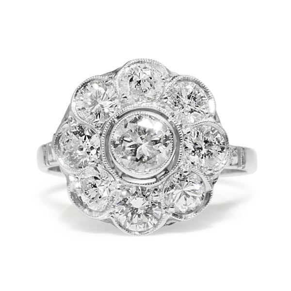 Platinum Diamond Daisy Ring