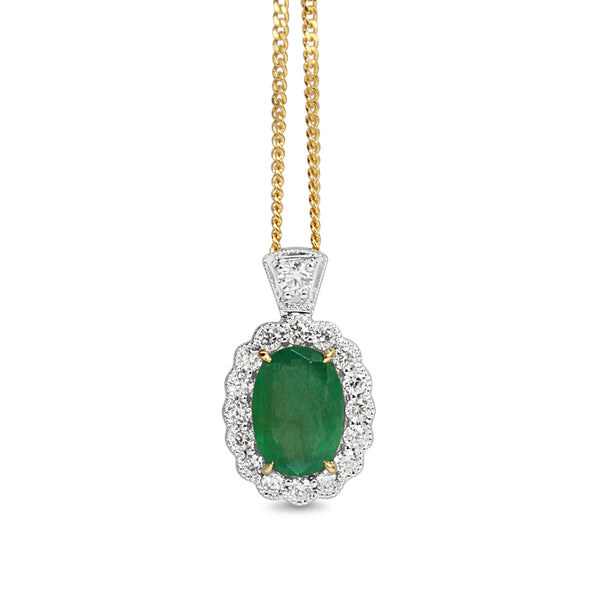 14ct Yellow and White Gold Emerald and Diamond Daisy Style Necklace