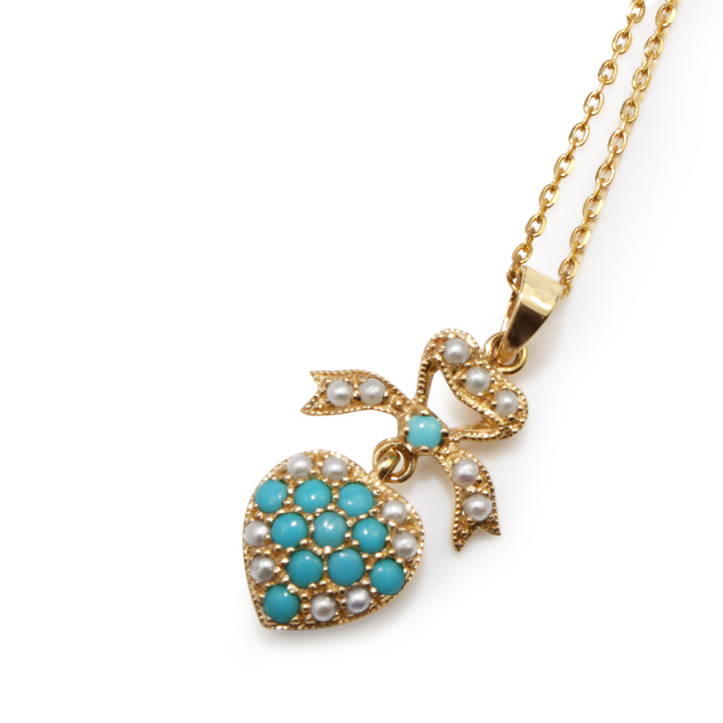 9ct Yellow Gold Victorian Style Turquoise and Pearl Pendant