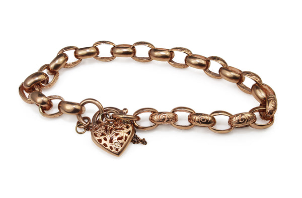 9ct Rose Gold Oval Belcher Link Bracelet with Etched Links