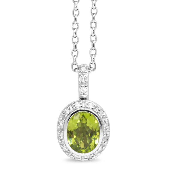 18ct White Gold Peridot and Diamond Halo Pendant