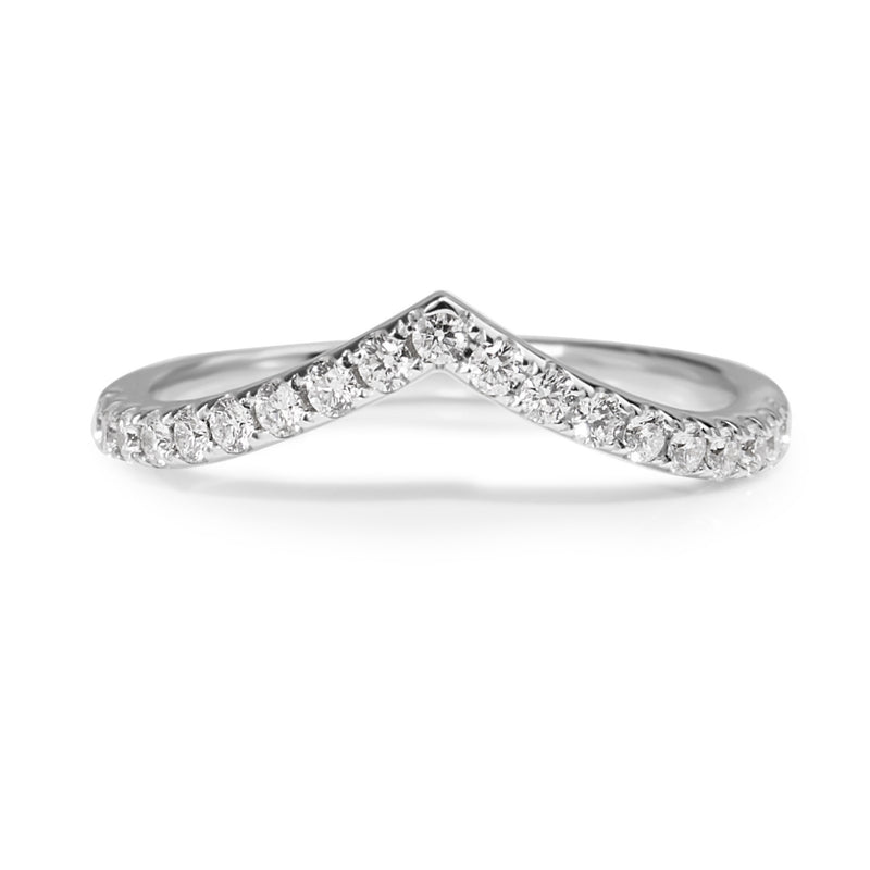 18ct White Gold 'V' Shaped Curved Diamond Band