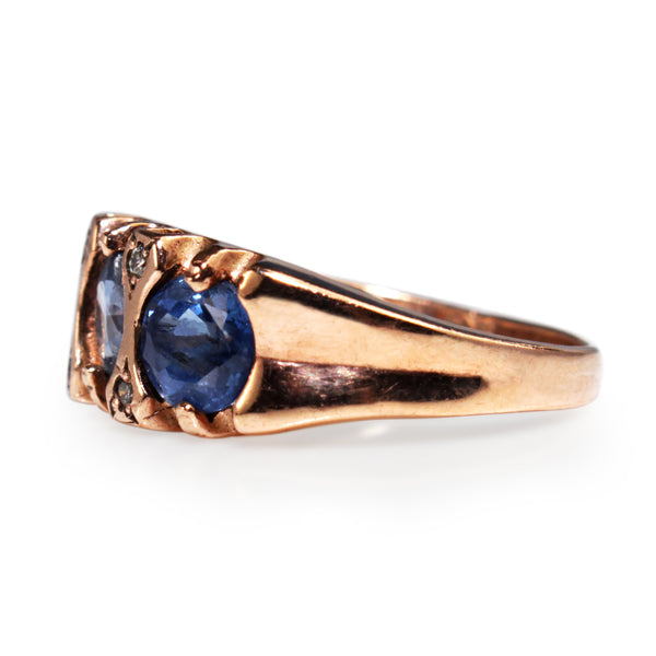 9ct Rose Gold Sapphire and Diamond 3 Stone Ring