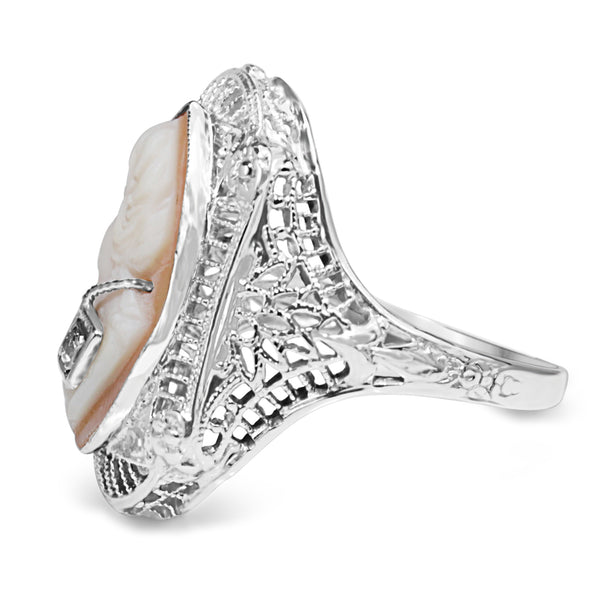 14ct White Gold Art Deco Cameo and Diamond Ring