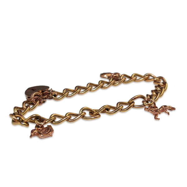 9ct Rose Gold Vintage Charm Bracelet