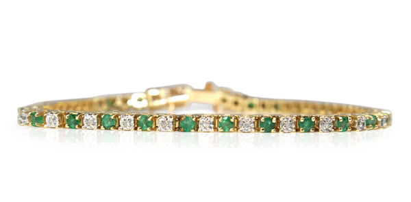 14ct Yellow Gold Emerald and Diamond Bracelet
