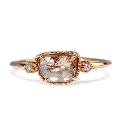 18ct Rose Gold Diamond Slice Ring