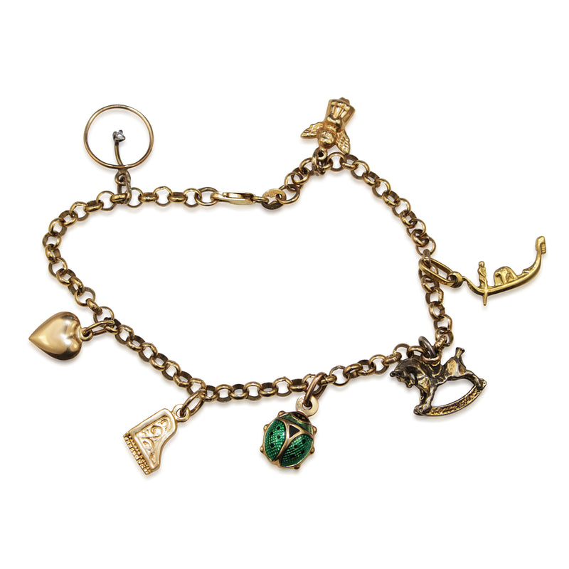 9ct Yellow Gold Estate Charm Bracelet