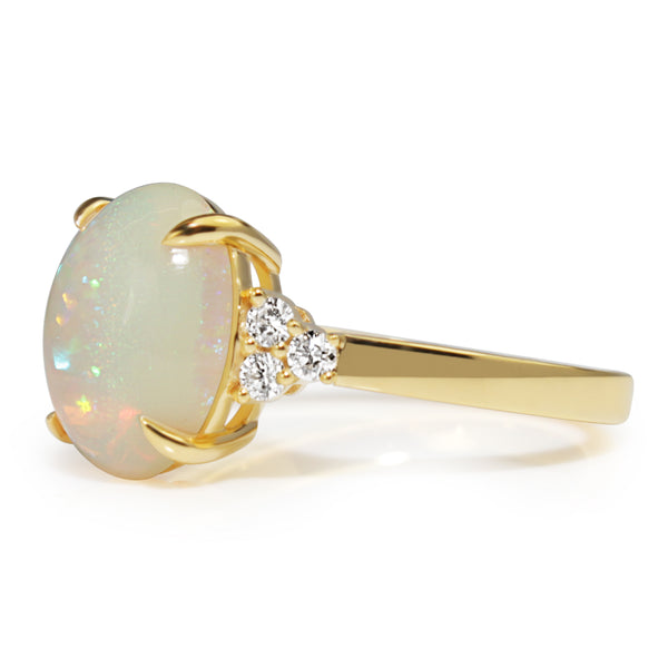 18ct Yellow Gold Opal and Diamond Ring