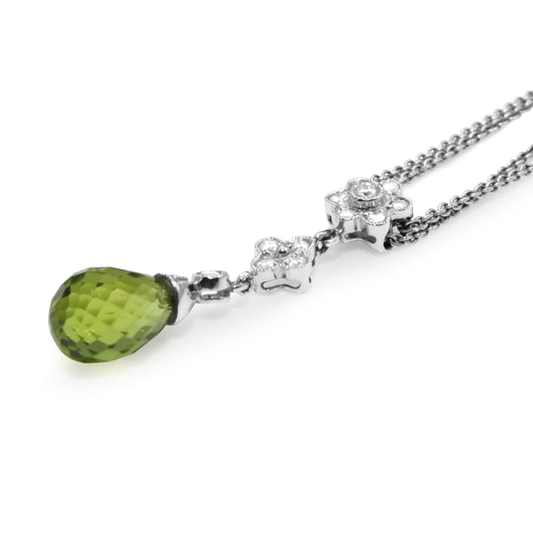 14ct White Gold Peridot and Diamond Drop Necklace