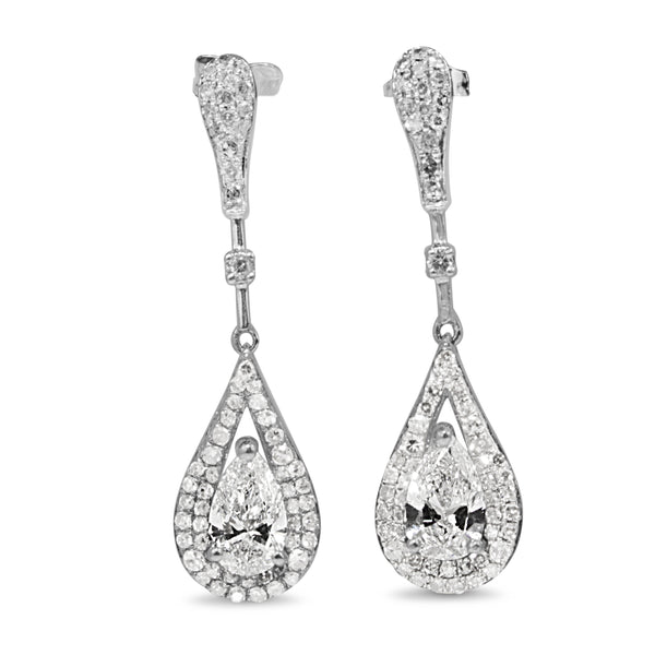 14ct White Gold Pear Diamond Drop Earrings
