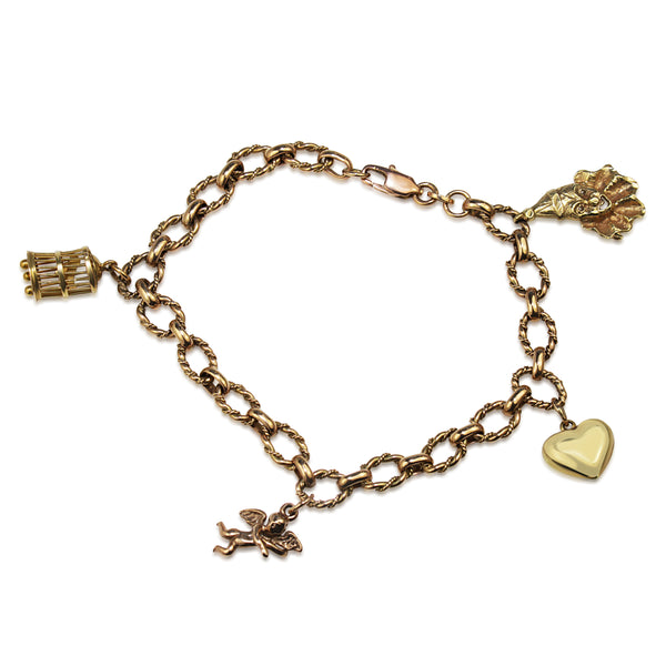 9ct Yellow Gold Vintage Charm Bracelet