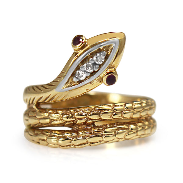 14ct Yellow Gold Ruby and Diamond Snake Ring