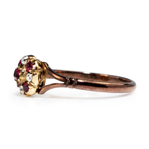 9ct Rose Gold Antique Ruby and Old Cut Diamond Cluster Ring