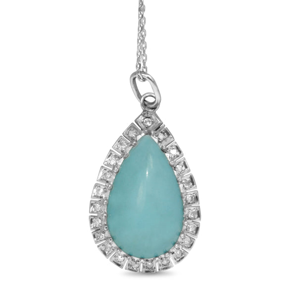 Palladium Vintage Turquoise and Diamond Pear Drop Pendant