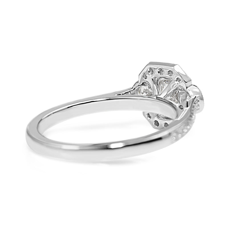 18ct White Gold Art Deco Style 3 Stone Halo Ring