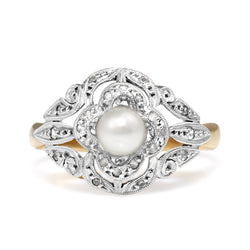 18ct Yellow and White Gold Art Deco Diamond and Pearl Ring