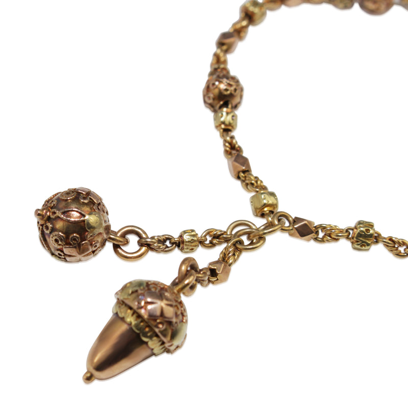 15ct Yellow and Rose Gold Antique Acorn Bracelet