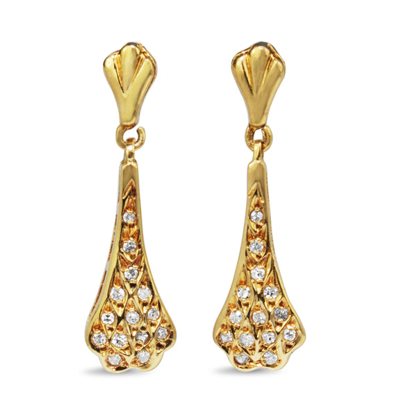 18ct Yellow Gold Diamond Drop Earrings