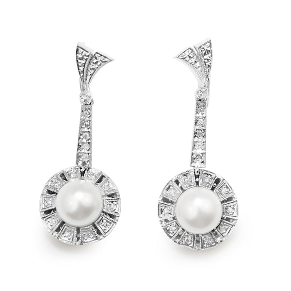 Palladium Art Deco Pearl and Single Cut Diamond Drop Earrings