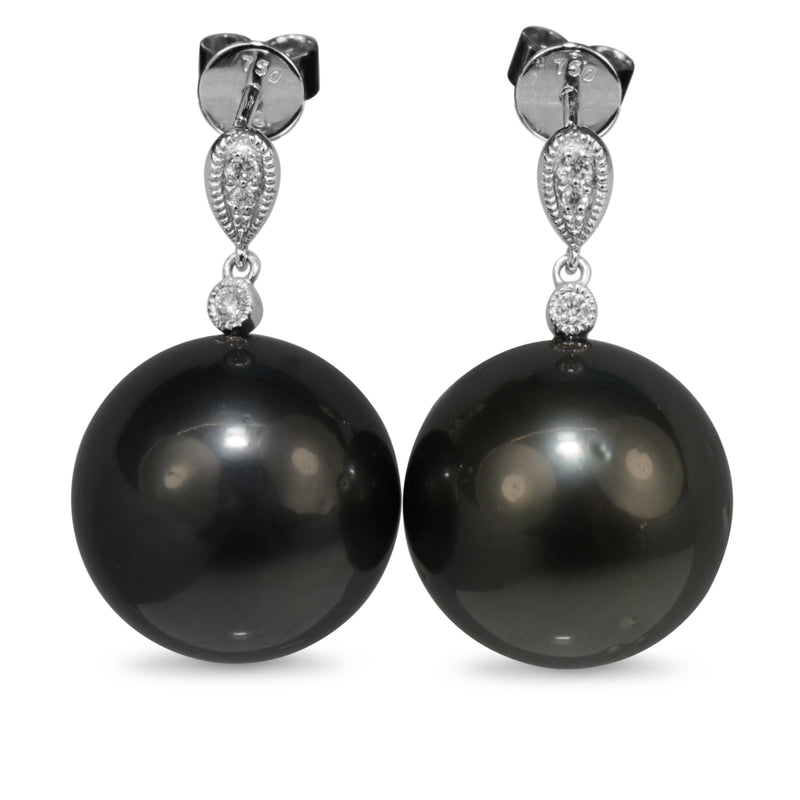 18ct White Gold 15mm Tahitian Pearl and Diamond Earrings