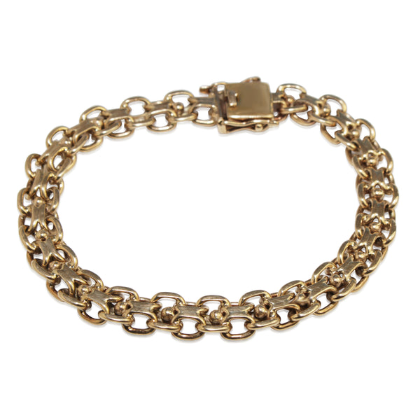 9ct Yellow Gold Estate Fancy Flat Link Bracelet